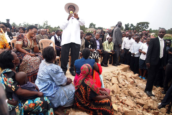 On the ground. President Museveni addresses